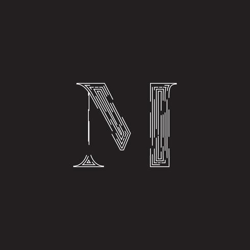 Elegant karaktär från ett fontset av streckade linjer, vektor illustration
