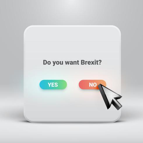 Cartão de pergunta para Brexit com botões sim-não, ilustração vetorial