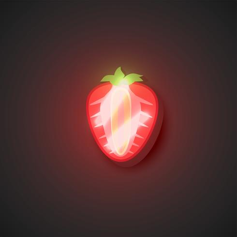 Realistic neon fruits, vector illustration