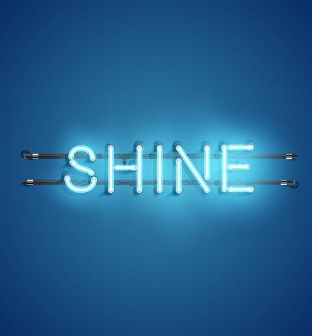 Neon realistisch woord voor reclame, vectorillustratie vector