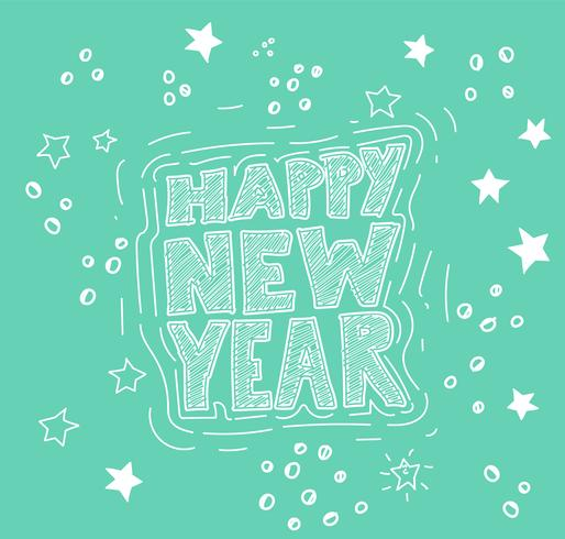 Handdrawn 'Happy New Year' illustration, vector