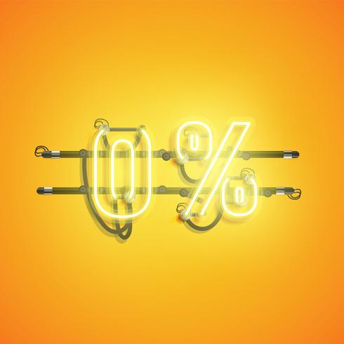 '0%' neon realistiskt tecken, vektor illustration