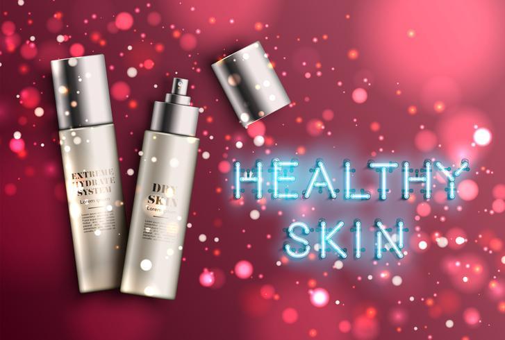 Botellas de crema hidratante detalladas con letrero de 'piel saludable' de neón, ilustración vectorial vector