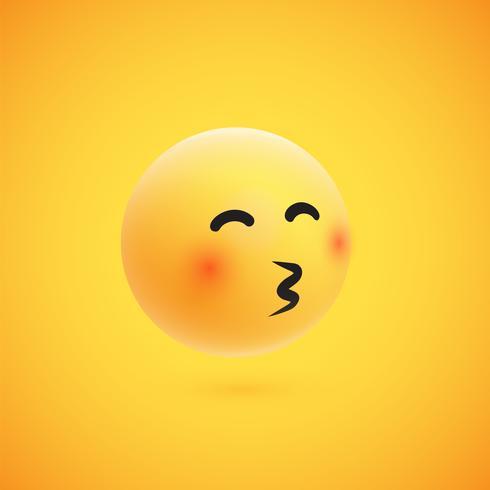 Lindo emoticon amarillo 3D altamente detallado para web, ilustración vectorial vector