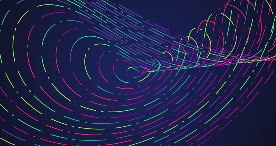 Färgglada neon streckade linjer, vektor illustration