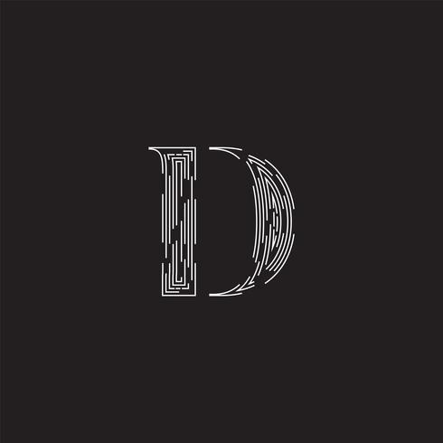 Eleganter Charakter von einem fontset gemacht durch gestrichelte Linien, Vektorillustration