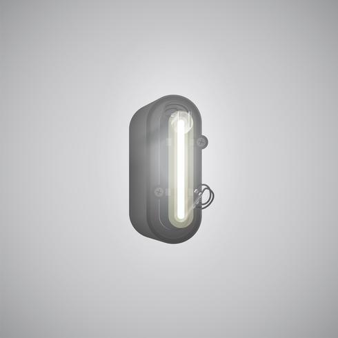 Realistischer Neoncharakter von einem Satz mit Konsole, Vektorillustration