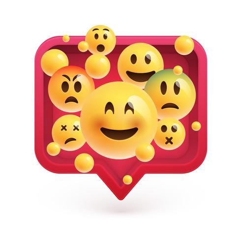 Hoch-ausführliche Emoticons in einer roten Luftblase 3D, Vektorillustration