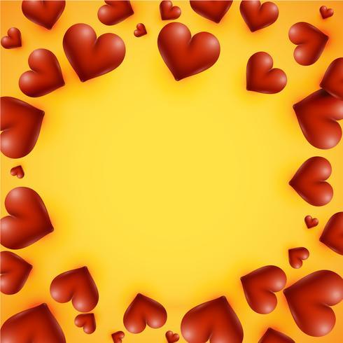 Hauts coeurs détaillés sur fond jaune, illustration vectorielle