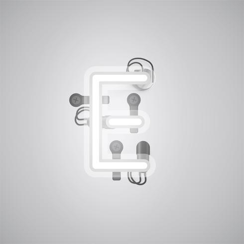 Carácter de neón realista gris con cables y consola de un conjunto de fuentes, ilustración vectorial vector