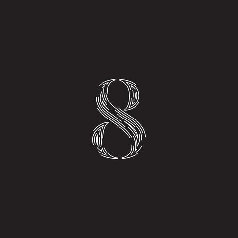Elegant karakter van een lettertype gemaakt door onderbroken lijnen, vectorillustratie