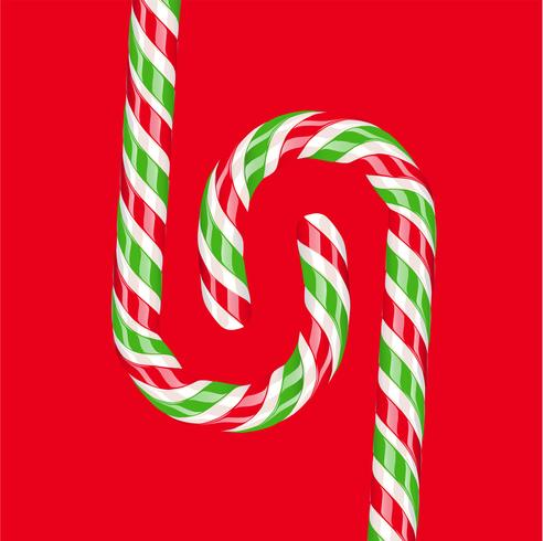 Bastão de doces vermelho e verde detalhada alta, ilustração vetorial