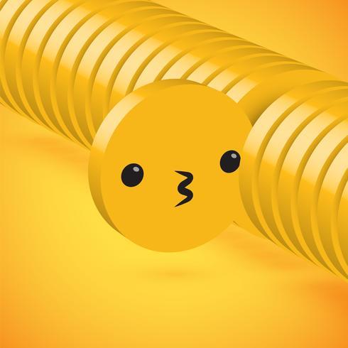 Émoticône de disque 3D détaillée jaune haute sélectionnée, illustration vectorielle