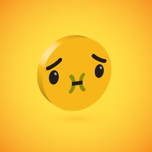 Emoticon de disco 3D alto detallado amarillo, ilustración vectorial vector