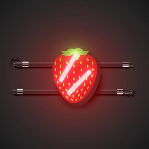 Realistic neon fruits with console, vector illustration