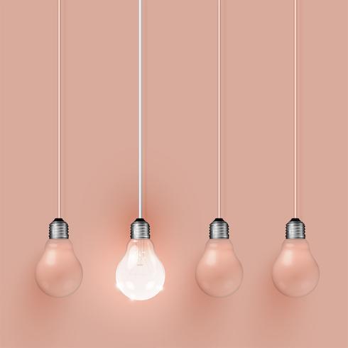 Hohe ausführliche realistische Glühlampeillustration, Vektor
