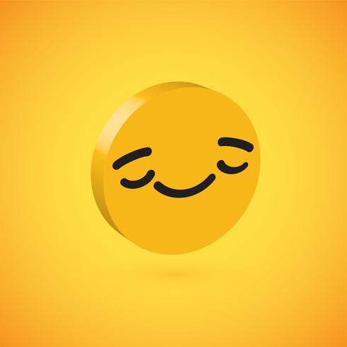 Emoticon alto dettagliato giallo del disco 3D, illustrazione di vettore