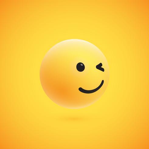 Emoticon giallo dettagliato alto 3D dettagliato per il web, illustrazione di vettore