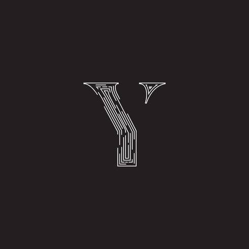 Carattere elegante da un fontset fatto da linee tratteggiate, illustrazione vettoriale