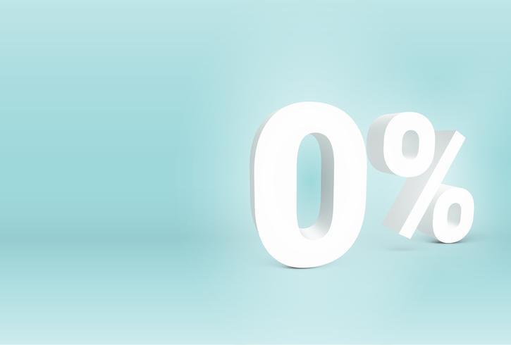 3D '0%' teken, vectorillustratie