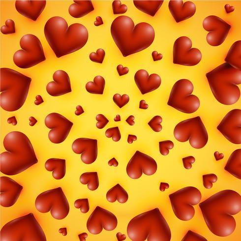 Hög detaljerade hjärtan på en gul bakgrund, vektor illustration
