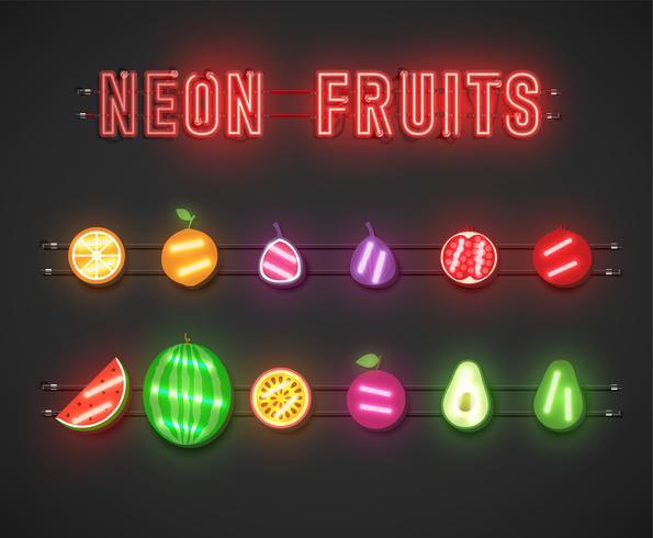 Realistic neon fruit set, vector illustration