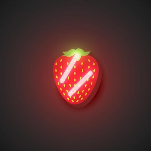 Fruits néon réalistes, illustration vectorielle
