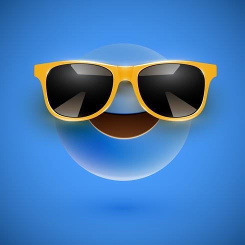Smiley 3D de alto nivel con gafas de sol sobre un fondo colorido, ilustración vectorial vector