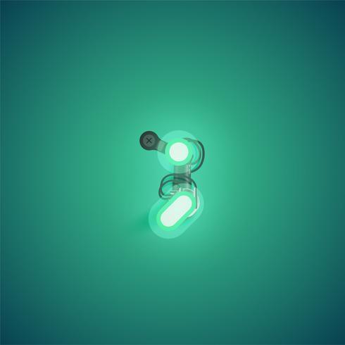Groen realistisch neonkarakter met draden en console van een fontset, vectorillustratie