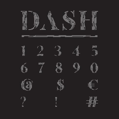 Elegant fontset made by dashed lines, vector illustration