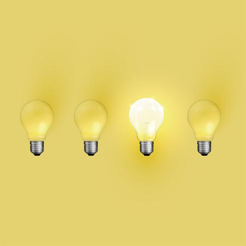 High detailed realistic light bulb illustration, vector