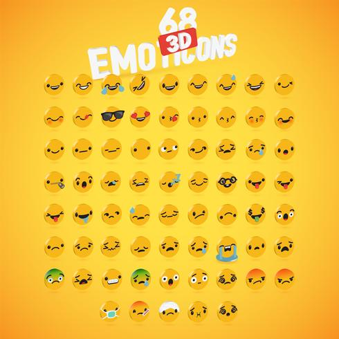 Yellow high detailed 3D disc emoticon set, vector illustration