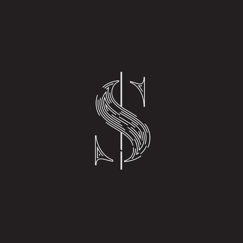 Personagem elegante de um fontset feita por linhas tracejadas, ilustração vetorial
