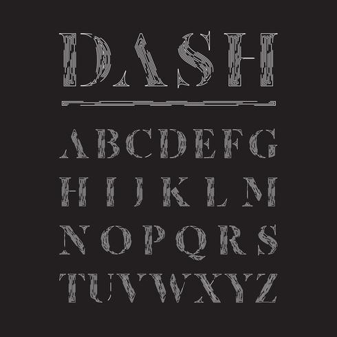 Elegante die lettertype door gestormde lijnen, vectorillustratie wordt gemaakt