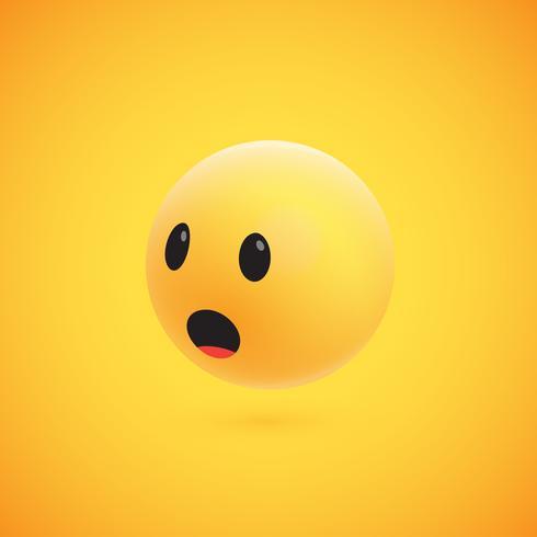 Lindo emoticon amarillo 3D altamente detallado para web, ilustración vectorial