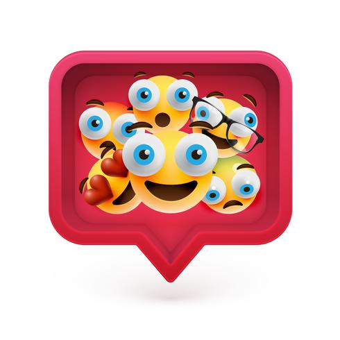 High-detailed emoticons in a red 3D speech bubble, vector illustration