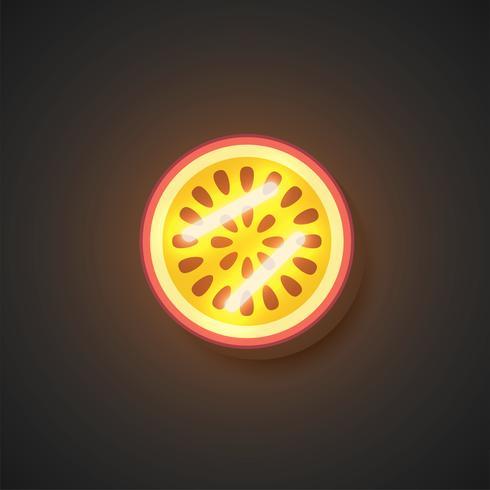 Realistic neon fruits, vector illustration