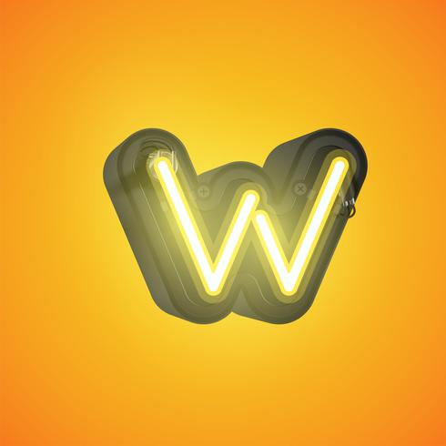 Realistic neon character from a set with console, vector illustration