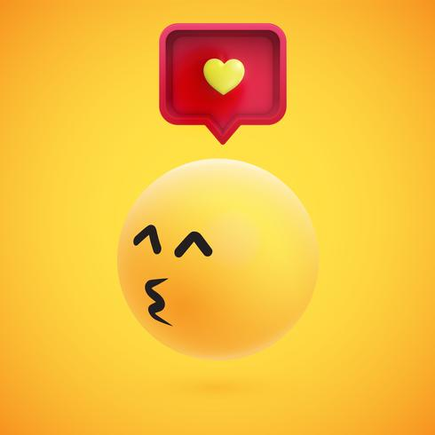 Leuke hoog-gedetailleerde gele 3D emoticon met toespraakbel en hart voor Web, vectorillustratie