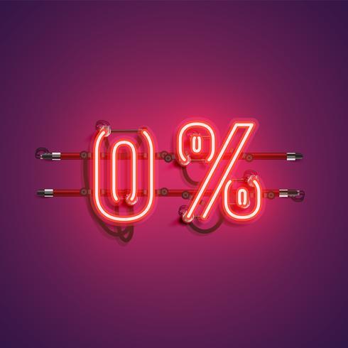 '0%' neon realistiskt tecken, vektor illustration