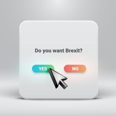 Fråga kort för Brexit med ja-nej knappar, vektor illustration