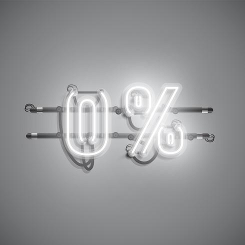 '0%' sinal realista de néon, ilustração vetorial