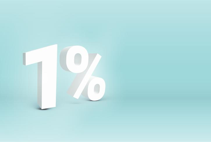 3D '1%' realistic sign, vector illustration
