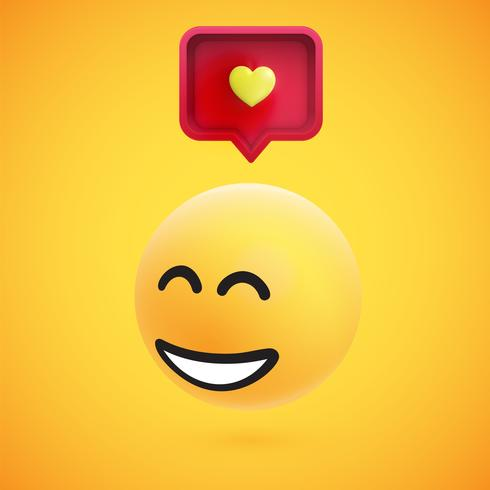 Cute high-detailed yellow 3D emoticon with speech bubble and heart for web, vector illustration