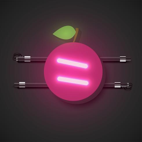 Fruits néon réalistes avec console, illustration vectorielle