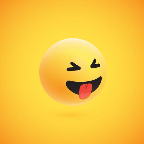 Émoticône 3D jaune très détaillée pour le web, illustration vectorielle