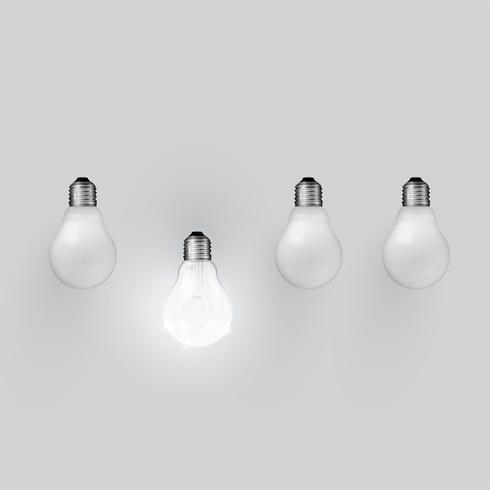Hög detaljerad realistisk glödlampa illustration, vektor