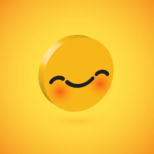 Gelber hoher ausführlicher 3D Emoticon 3D, Vektorillustration
