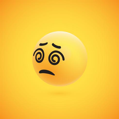 Cute high-detailed yellow 3D emoticon for web, vector illustration