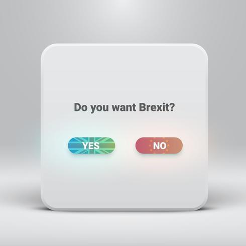 Tarjeta de preguntas para Brexit con botones sí-no, ilustración vectorial